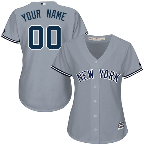 Women's Majestic New York Yankees Customized Authentic Grey Road MLB Jersey