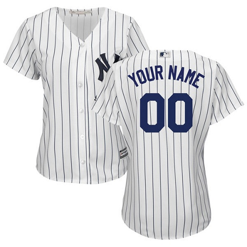 Women's Majestic New York Yankees Customized Authentic White Home MLB Jersey