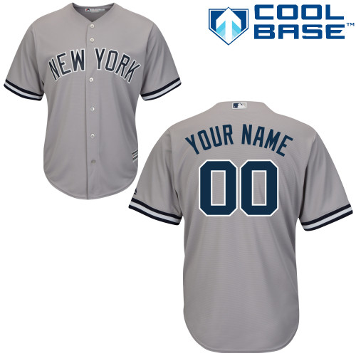 Youth Majestic New York Yankees Customized Authentic Grey Road MLB Jersey