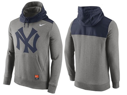 MLB Men's New York Yankees Nike Gray Cooperstown Collection Hybrid Pullover Hoodie
