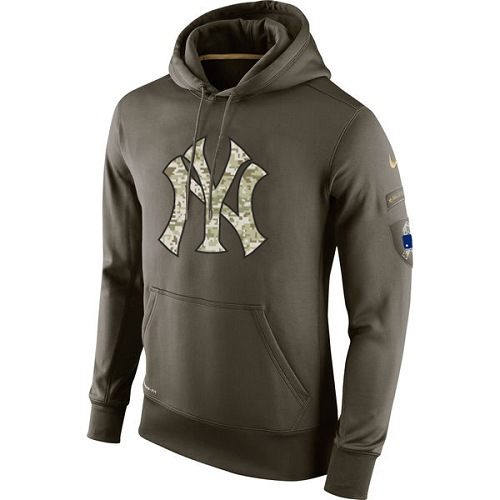MLB Men's New York Yankees Nike Olive Salute To Service KO Performance Hoodie