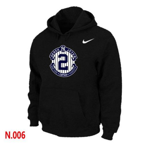 MLB Men's Nike New York Yankees #2 Derek Jeter Pullover Hoodie - Black