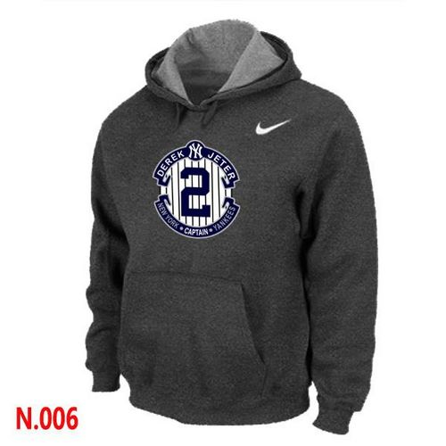 MLB Men's Nike New York Yankees #2 Derek Jeter Pullover Hoodie - Dark Grey