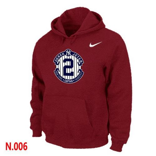 MLB Men's Nike New York Yankees #2 Derek Jeter Pullover Hoodie - Red