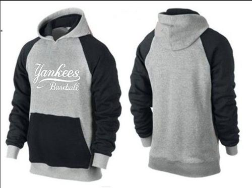MLB Men's Nike New York Yankees Pullover Hoodie - Grey/Black