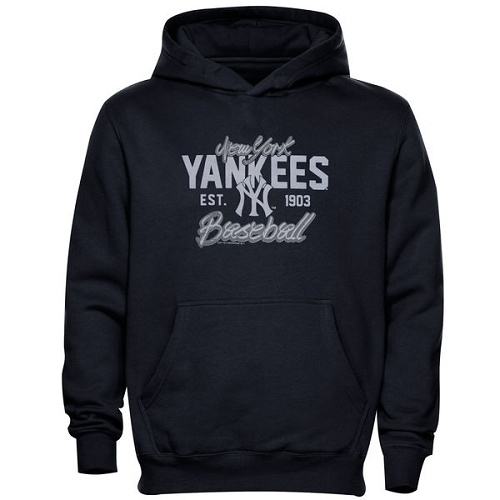 MLB New York Yankees Script Baseball Pullover Hoodie - Navy Blue