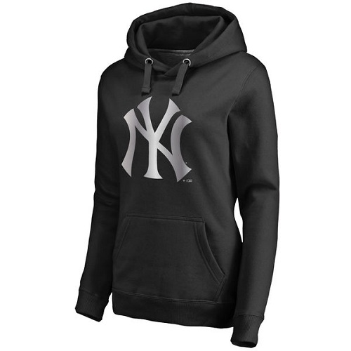 MLB New York Yankees Women's Platinum Collection Pullover Hoodie - Black