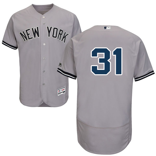 Men's Majestic New York Yankees #31 Aaron Hicks Grey Flexbase Authentic Collection MLB Jersey