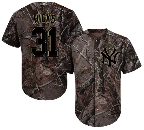 Youth Majestic New York Yankees #31 Aaron Hicks Authentic Camo Realtree Collection Flex Base MLB Jersey