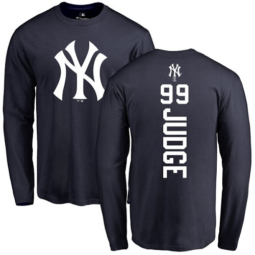 MLB Nike New York Yankees #99 Aaron Judge Navy Blue Backer Long Sleeve T-Shirt