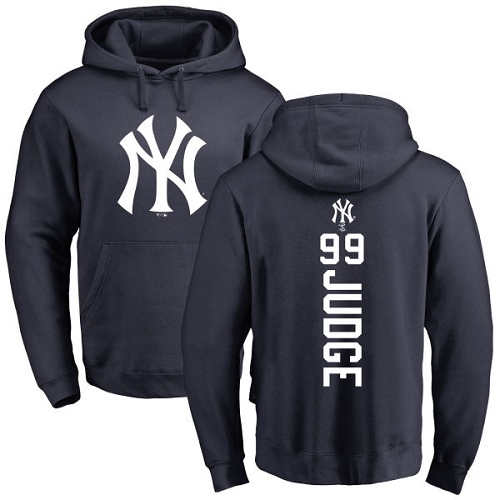 MLB Nike New York Yankees #99 Aaron Judge Navy Blue Backer Pullover Hoodie