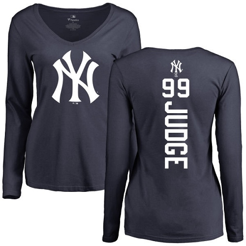 MLB Women's Nike New York Yankees #99 Aaron Judge Navy Blue Backer Long Sleeve T-Shirt