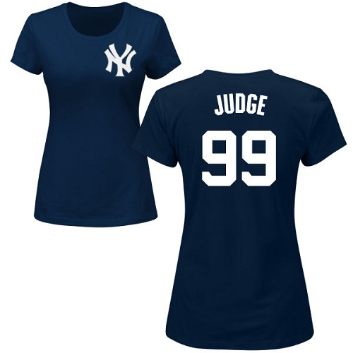 MLB Women's Nike New York Yankees #99 Aaron Judge Navy Blue Name & Number T-Shirt