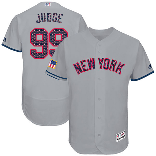 Men's Majestic New York Yankees #99 Aaron Judge Grey Stars & Stripes Authentic Collection Flex Base MLB Jersey