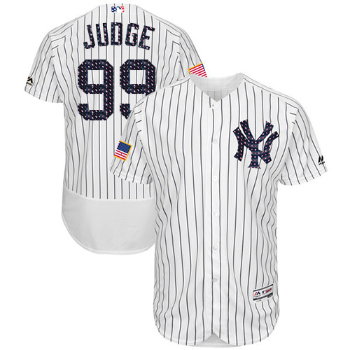 Men's Majestic New York Yankees #99 Aaron Judge White Stars & Stripes Authentic Collection Flex Base MLB Jersey