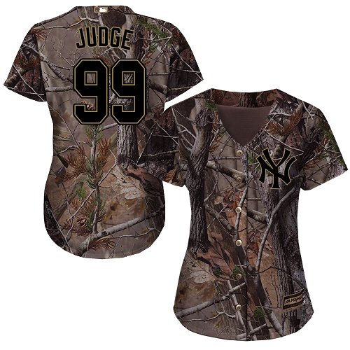 Women's Majestic New York Yankees #99 Aaron Judge Authentic Camo Realtree Collection Flex Base MLB Jersey