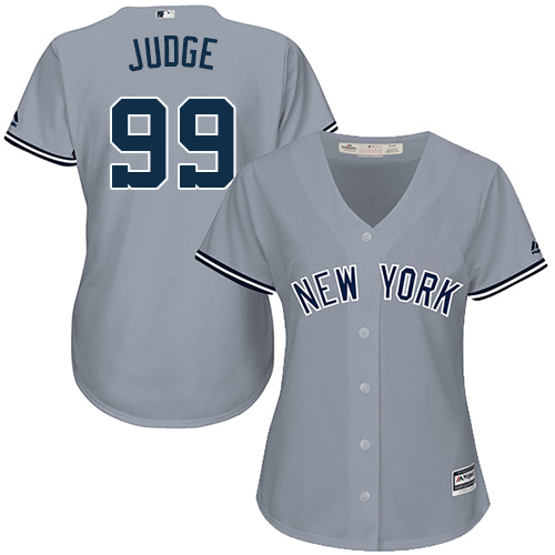 Women's Majestic New York Yankees #99 Aaron Judge Authentic Grey Road MLB Jersey