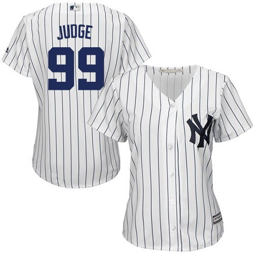 Women's Majestic New York Yankees #99 Aaron Judge Authentic White Home MLB Jersey