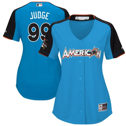 Women's Majestic New York Yankees #99 Aaron Judge Replica Blue American League 2017 MLB All-Star MLB Jersey