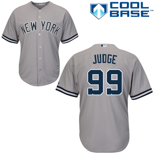 Youth Majestic New York Yankees #99 Aaron Judge Authentic Grey Road MLB Jersey