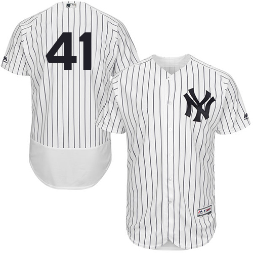 Men's Majestic New York Yankees #41 Adam Lind White Home Flex Base Authentic Collection MLB Jersey