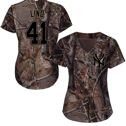 Women's Majestic New York Yankees #41 Adam Lind Authentic Camo Realtree Collection Flex Base MLB Jersey