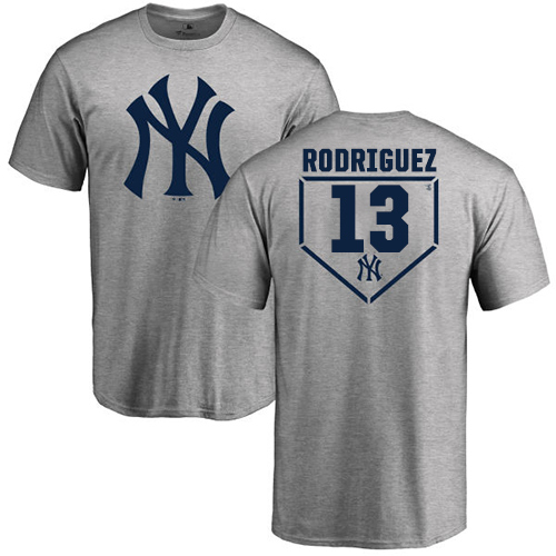 MLB Nike New York Yankees #13 Alex Rodriguez Gray RBI T-Shirt