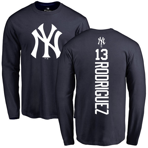 MLB Nike New York Yankees #13 Alex Rodriguez Navy Blue Backer Long Sleeve T-Shirt