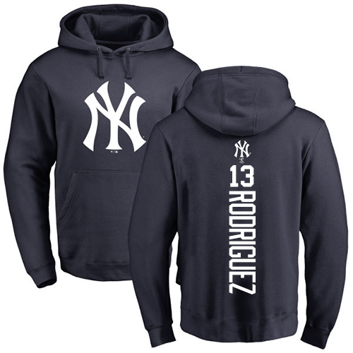 MLB Nike New York Yankees #13 Alex Rodriguez Navy Blue Backer Pullover Hoodie