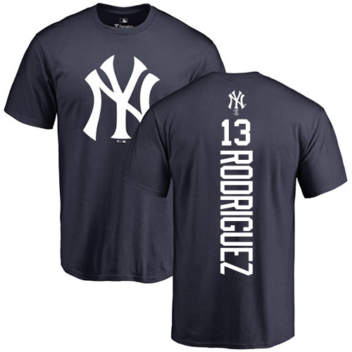 MLB Nike New York Yankees #13 Alex Rodriguez Navy Blue Backer T-Shirt