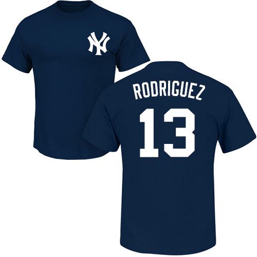MLB Nike New York Yankees #13 Alex Rodriguez Navy Blue Name & Number T-Shirt