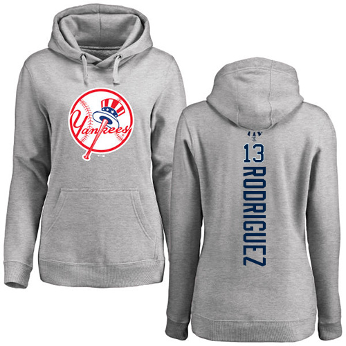 MLB Women's Nike New York Yankees #13 Alex Rodriguez Ash Backer Pullover Hoodie
