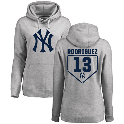 MLB Women's Nike New York Yankees #13 Alex Rodriguez Gray RBI Pullover Hoodie