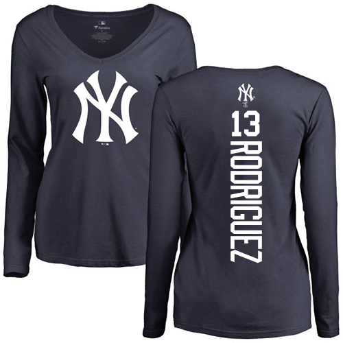 MLB Women's Nike New York Yankees #13 Alex Rodriguez Navy Blue Backer Long Sleeve T-Shirt