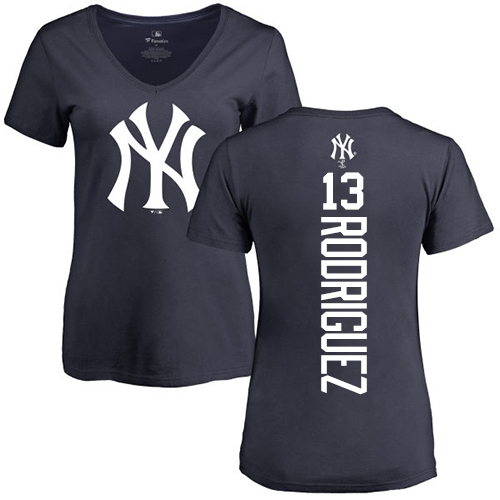 MLB Women's Nike New York Yankees #13 Alex Rodriguez Navy Blue Backer T-Shirt