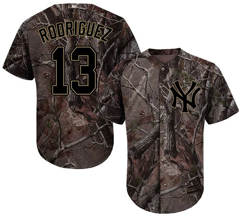 Men's Majestic New York Yankees #13 Alex Rodriguez Authentic Camo Realtree Collection Flex Base MLB Jersey