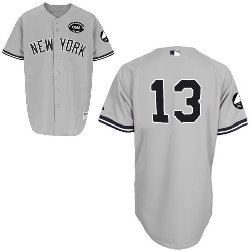 Men's Majestic New York Yankees #13 Alex Rodriguez Authentic Grey GMS
