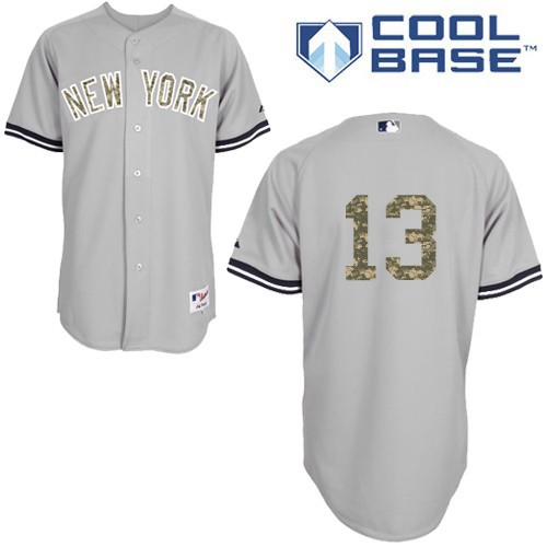 Men's Majestic New York Yankees #13 Alex Rodriguez Authentic Grey USMC Cool Base MLB Jersey