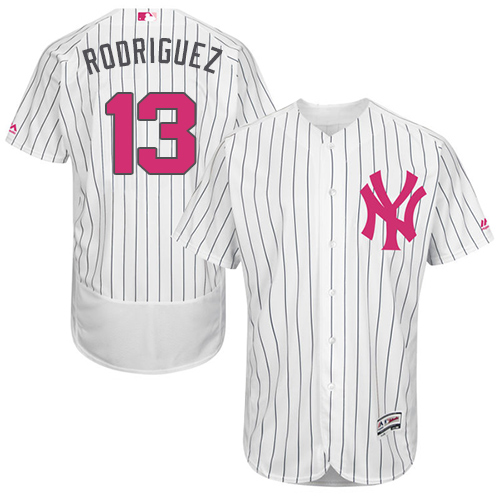 Men's Majestic New York Yankees #13 Alex Rodriguez Authentic White 2016 Mother's Day Fashion Flex Base MLB Jersey