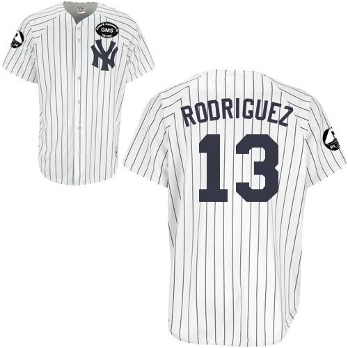 Men's Majestic New York Yankees #13 Alex Rodriguez Authentic White GMS