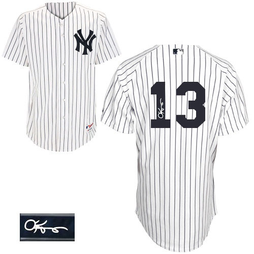Men's Majestic New York Yankees #13 Alex Rodriguez Authentic White Home Autographed MLB Jersey