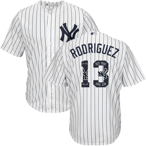 Men's Majestic New York Yankees #13 Alex Rodriguez Authentic White Team Logo Fashion MLB Jersey