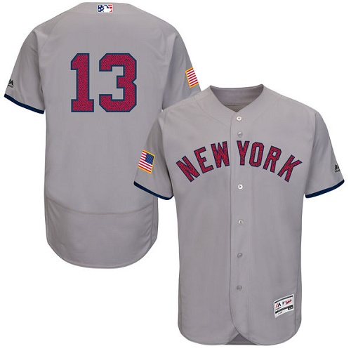 Men's Majestic New York Yankees #13 Alex Rodriguez Grey Fashion Stars & Stripes Flex Base MLB Jersey