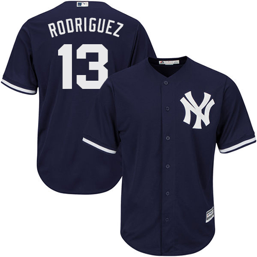 Men's Majestic New York Yankees #13 Alex Rodriguez Replica Navy Blue Alternate MLB Jersey