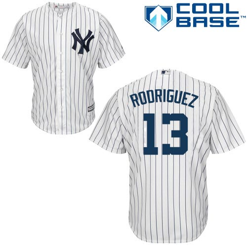 Men's Majestic New York Yankees #13 Alex Rodriguez Replica White Home MLB Jersey