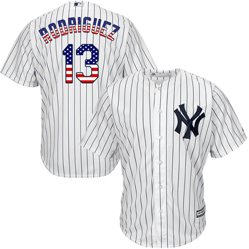Men's Majestic New York Yankees #13 Alex Rodriguez Replica White USA Flag Fashion MLB Jersey