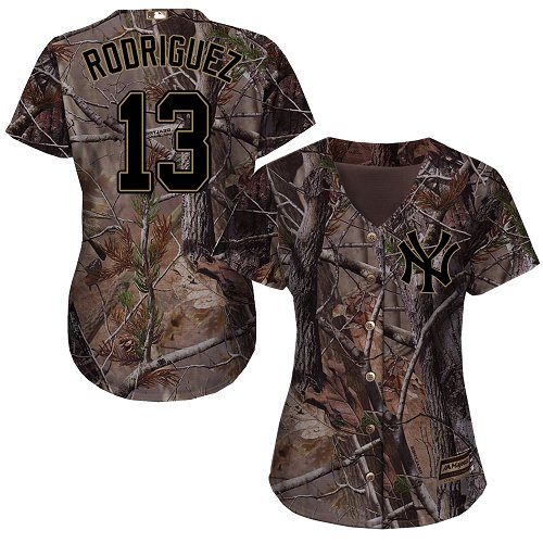 Women's Majestic New York Yankees #13 Alex Rodriguez Authentic Camo Realtree Collection Flex Base MLB Jersey