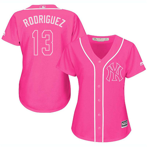Women's Majestic New York Yankees #13 Alex Rodriguez Authentic Pink Fashion Cool Base MLB Jersey