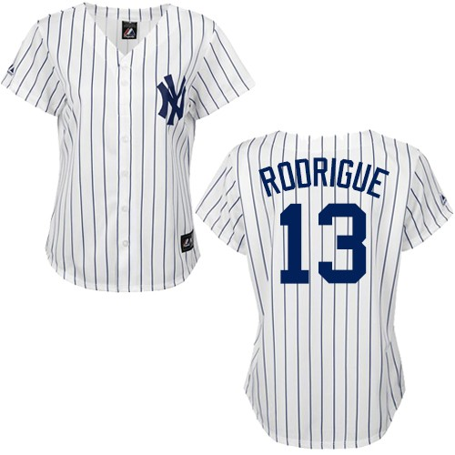 Women's Majestic New York Yankees #13 Alex Rodriguez Authentic White/Black Strip MLB Jersey