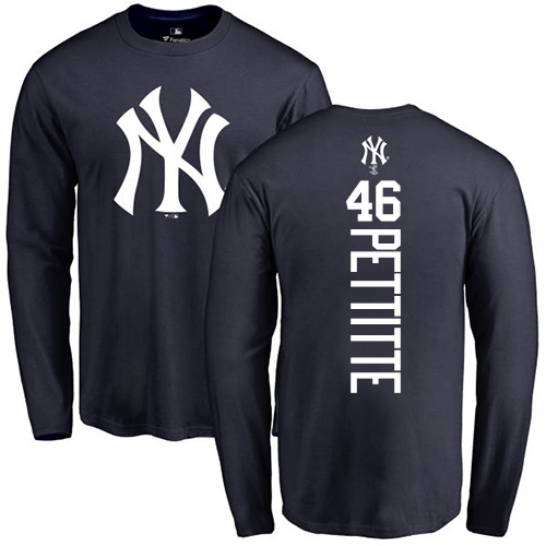 MLB Nike New York Yankees #46 Andy Pettitte Navy Blue Backer Long Sleeve T-Shirt
